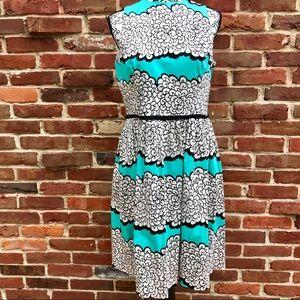 MAGGY LONDON Sheath Style Jewel Neck Midi Dress